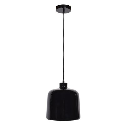 Utopia Square 1-Light Inverted Pendant Finish: Shiny Black Outer/White Inner