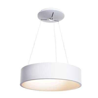 Devery 1-Light Drum Pendant Finish: White