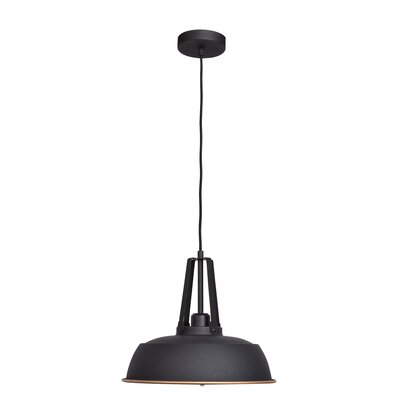 Utopia 1-Light Inverted Pendant Finish: Matte Black Outer/Matte Gold Inner