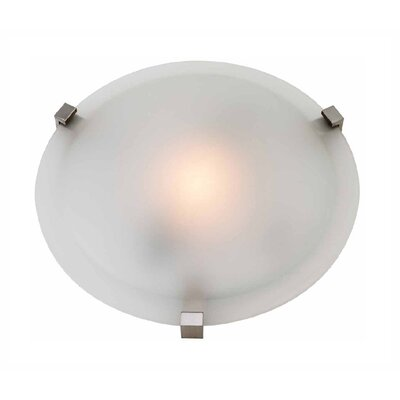 Rohan 1-Light Flush Mount Finish: Satin Nickel, Size: 5 H x 16 Diameter, Shade Color: Frosted Glass