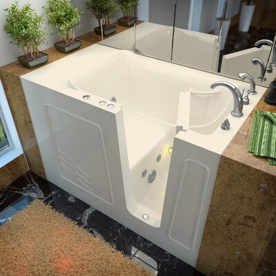 Ashton 52.8 x 29.5 Whirlpool Jetted Bathtub Drain Location: Right, Finish: Biscuit