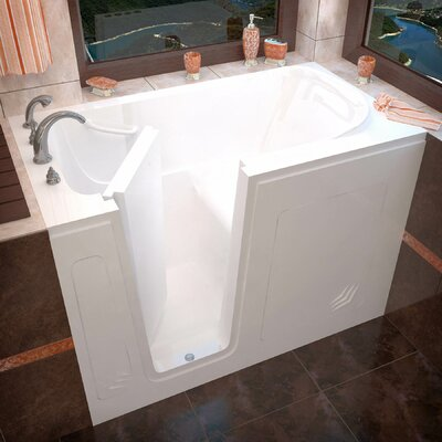 Buena Vista 54 x 30 Walk-In Bathtub Color: White, Drain Location: Left