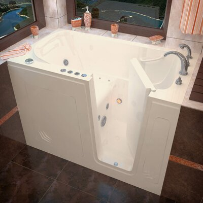Buena Vista 54 x 30 Whirlpool & Air Jetted Bathtub Drain Location: Right, Finish: Biscuit