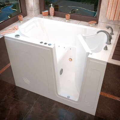 Buena Vista 53.8 x 29.8 Air Jetted Bathtub Finish: White, Drain Location: Right