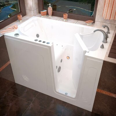 Buena Vista 54 x 30 Whirlpool & Air Jetted Bathtub Drain Location: Right, Finish: White