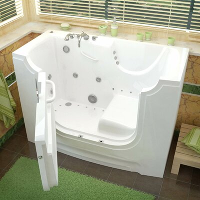 HandiTub 60 x 30 Walk-In Air and Whirlpool Jetted Bathtub Drain Location: Left, Color: White