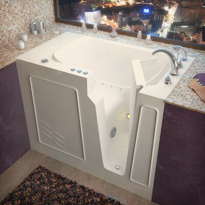Flagstaff 52 x 29 Walk-In Air Jetted Bathtub Color: Biscuit, Drain Location: Right
