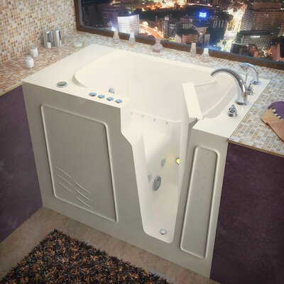 Flagstaff 52 x 29 Walk-In Air and Whirlpool Jetted Bathtub Color: Biscuit, Drain Location: Right