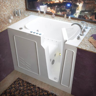 Flagstaff 52 x 29 Walk-In Air and Whirlpool Jetted Bathtub Color: White, Drain Location: Right