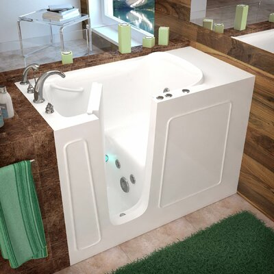Santa Fe 53 x 26 Walk-In Whirlpool Bathtub Drain Location: Left, Color: White