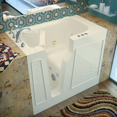 Prairie 45.7 x 26 Whirlpool Jetted Bathtub Finish: Biscuit, Drain Location: Left