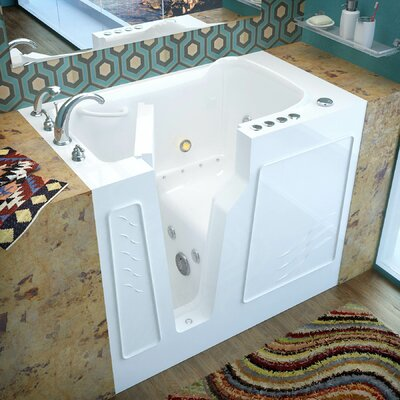 Prairie 45.7 x 26 Whirlpool & Air Jetted Bathtub Drain Location: Left, Finish: White