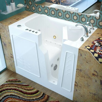 Prairie 45.7 x 26 Whirlpool & Air Jetted Bathtub Finish: White, Drain Location: Right