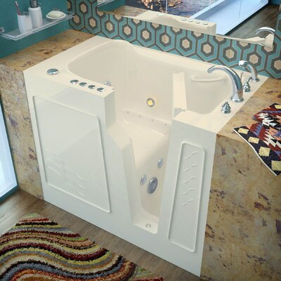 Prairie 45.7 x 26 Whirlpool & Air Jetted Bathtub Finish: Biscuit, Drain Location: Right