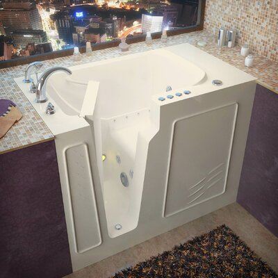 Flagstaff 52 x 29 Walk-In Air and Whirlpool Jetted Bathtub Color: Biscuit, Drain Location: Left