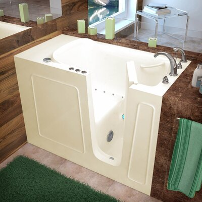 Santa Fe 52.7 x 26.37 Air Jetted Bathtub Finish: Biscuit, Drain Location: Right