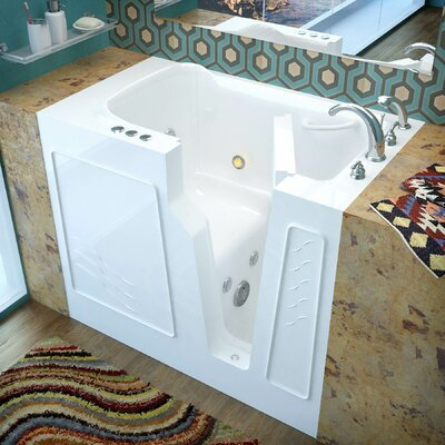 Prairie 45.7 x 26 Whirlpool Jetted Bathtub Finish: White, Drain Location: Right