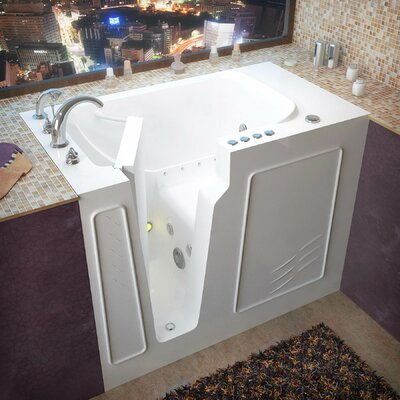 Flagstaff 52 x 29 Walk-In Air and Whirlpool Jetted Bathtub Drain Location: Left, Color: White