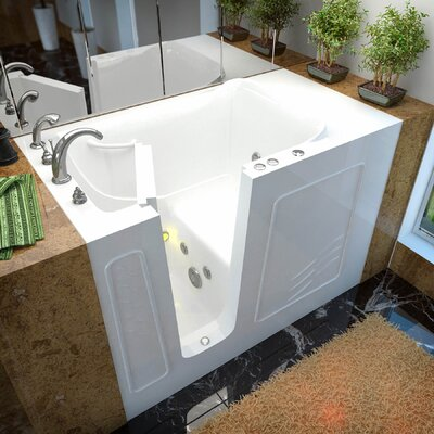 Ashton 53 x 30 Walk-In Whirlpool Bathtub Color: White, Drain Location: Left