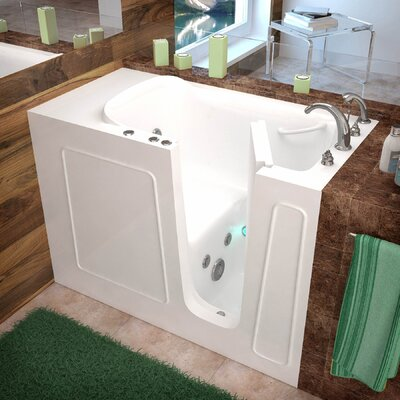 Santa Fe 53 x 26 Walk-In Whirlpool Bathtub Color: White, Drain Location: Right