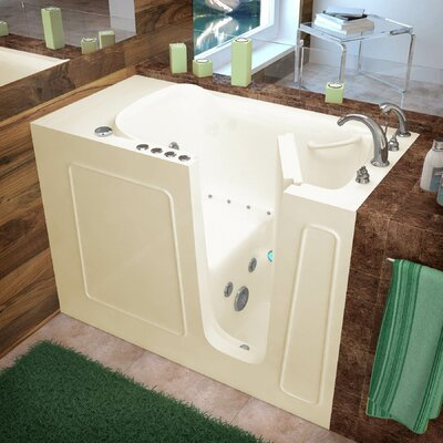 Santa Fe 52.7 x 26.3 Whirlpool & Air Jetted Bathtub Drain Location: Right, Finish: Biscuit
