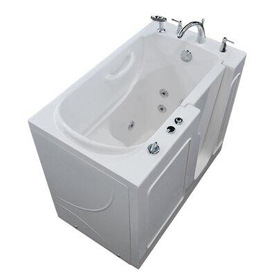 Prairie 46 x 26 Walk In Whirlpool Bathtub Color: White, Drain Location: Left