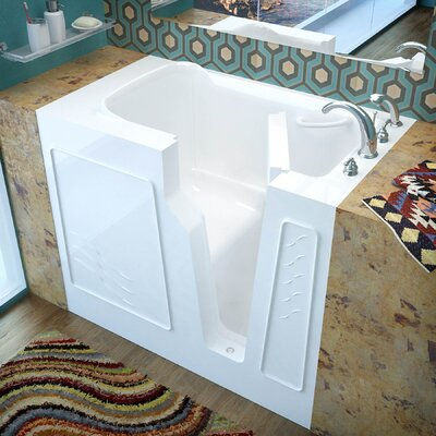 Prairie 45.7 x 26 Soaking Bathtub Finish: White, Drain Location: Right