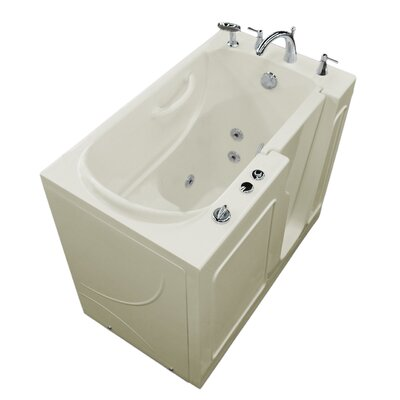 Prairie 46 x 26 Walk In Whirlpool Bathtub Color: White, Drain Location: Left