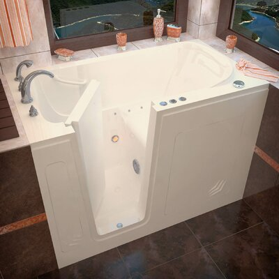 Buena Vista 54 x 30 Walk-In Air Jetted Bathtub Color: Biscuit, Drain Location: Left