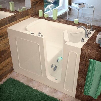 Santa Fe 53 x 26 Walk-In Whirlpool Bathtub Color: Biscuit, Drain Location: Right