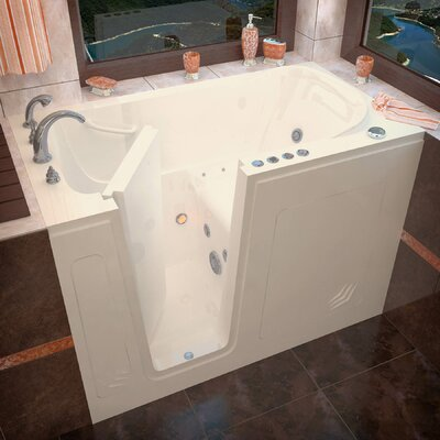 Buena Vista 54 x 30 Walk-In Air and Whirlpool Jetted Bathtub Color: Biscuit, Drain Location: Left