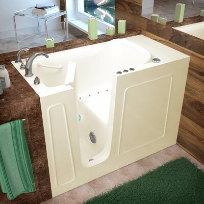 Santa Fe 52.7 x 26.37 Air Jetted Bathtub Finish: Biscuit, Drain Location: Left