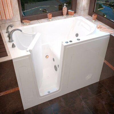 Buena Vista 54 x 30 Walk-In Whirlpool Bathtub Color: White, Drain Location: Left