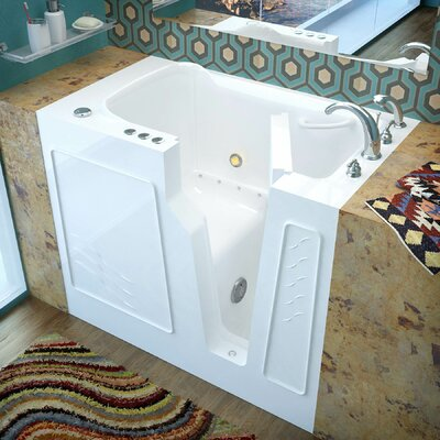 Prairie 45.7 x 26 Air Jetted Bathtub Finish: White, Drain Location: Right
