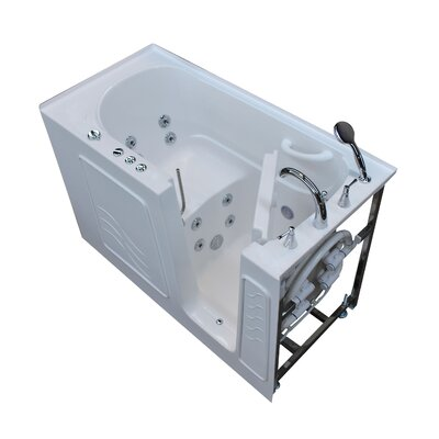 Tucson 60 x 30 Walk-In Whirlpool Bathtub Color: White, Drain Location: Right