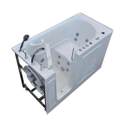 Tucson 60 x 30 Walk-In Air and Whirlpool Jetted Bathtub Color: White, Drain Location: Left