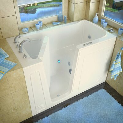Aspen 60 x 32 Walk-In Whirlpool Bathtub Drain Location: Left, Color: Biscuit