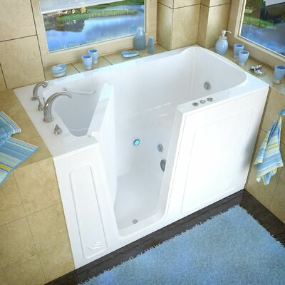 Aspen 60 x 32 Walk-In Whirlpool Bathtub Color: White, Drain Location: Left