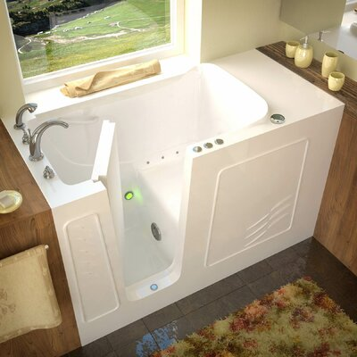 Tucson 60 x 30 Walk-In Air Jetted Bathtub Color: White, Drain Location: Left