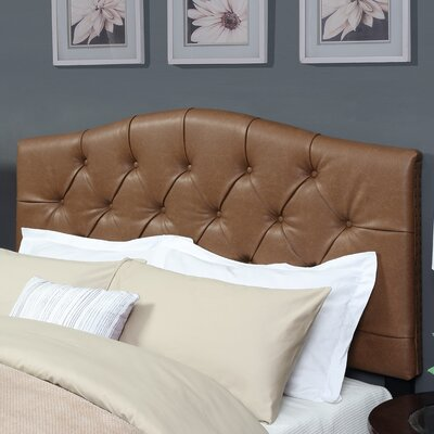 Carolina Upholstered Panel Headboard Size: Queen, Upholstery: Cognac Faux Leather