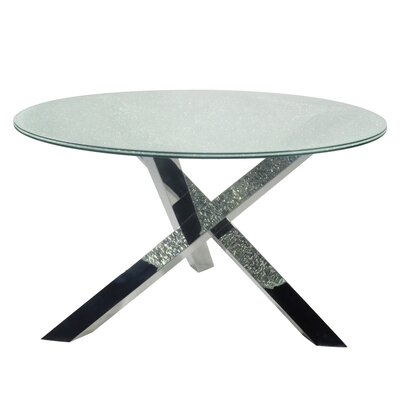 Dom Dining Table Base Finish: Polished Stainless Steel, Top Finish: Clear Crackled Glass