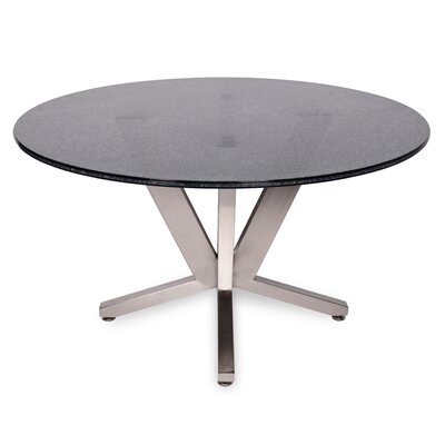 Costa Dining Table Base Finish: Polished Stainless Steel, Top Finish: Smoked Crackled Glass