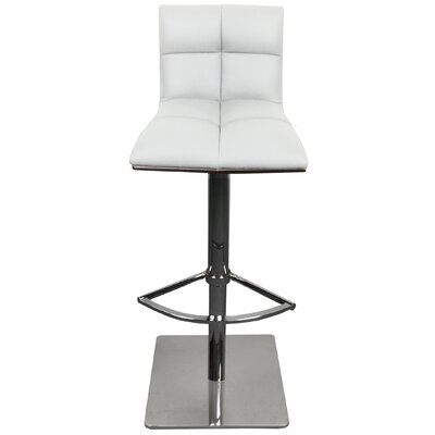 The Quilt Adjustable Height Swivel Bar Stool with Cushion Upholstery: White