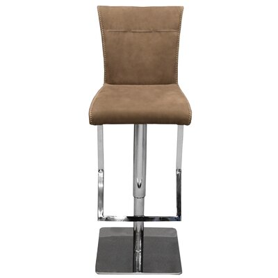 Adjustable Height Swivel Bar Stool with Cushion Upholstery: Brown
