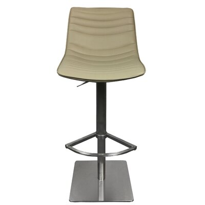 Adjustable Height Swivel Bar Stool with Cushion Upholstery: Taupe
