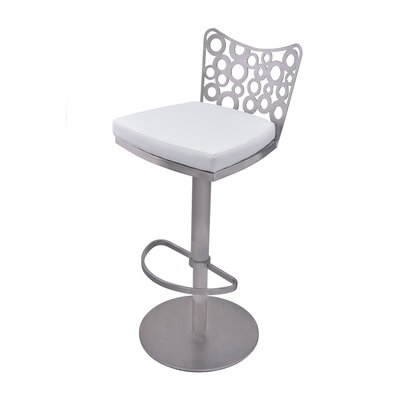 Jester Adjustable Height Swivel Bar Stool with Cushion Upholstery: White