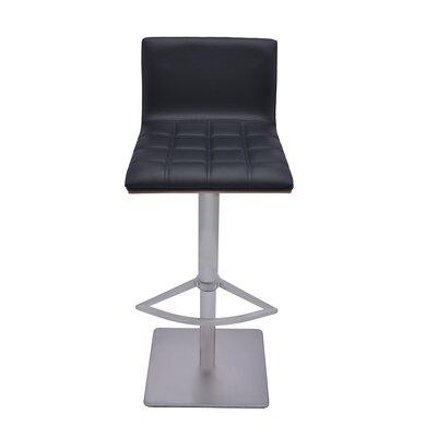 Folia Adjustable Height Swivel Bar Stool with Cushion Upholstery: Black