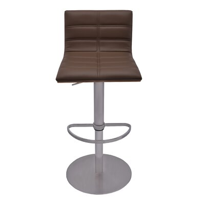 Sydney Adjustable Height Swivel Bar Stool with Cushion Upholstery: Brown