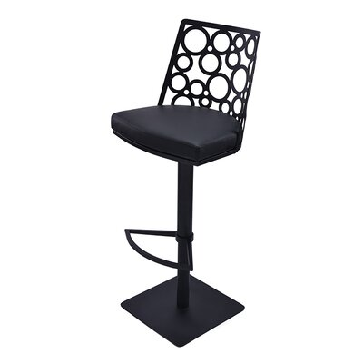 Levine Adjustable Height Swivel Bar Stool with Cushion Upholstery: Beige, Finish: Champaign