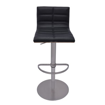 Sydney Adjustable Height Swivel Bar Stool with Cushion Upholstery: Black